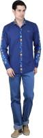 Bravezi Formal Shirts (Men's) - Bravezi Men's Floral Print Formal Dark Blue, Yellow Shirt