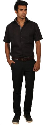 Brumax Men's Solid Formal Linen Black Shirt