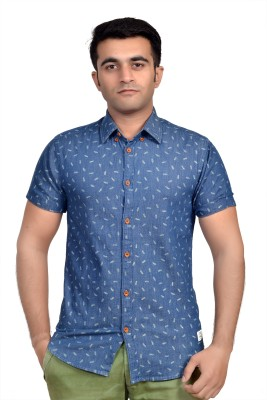 Parv Collections Men's Printed Casual Blue Shirt