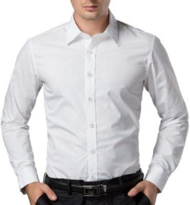 UNO COTTON Men's Solid Formal White Shirt