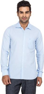 Laven Men's Solid Casual Blue Shirt