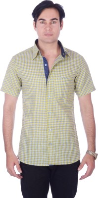 Darzii Men's Checkered Casual Linen Yellow, Blue Shirt