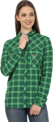 United Colors of Benetton Womens Checkered Casual Green Shirt
