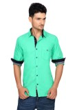 Ecohawk Men's Solid Casual Green Shirt