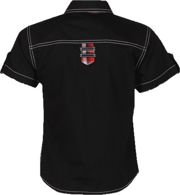 Cool Quotient Boy's Self Design Casual Black Shirt