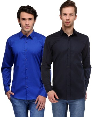 Feed Up Men's Solid Casual Blue, Dark Blue Shirt