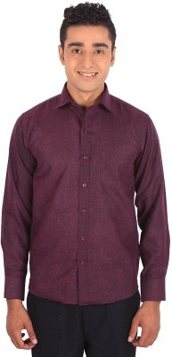 Henry Spark Men's Solid Formal Maroon Shirt