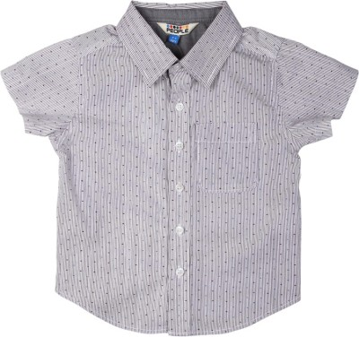 People Boy's Striped Casual White Shirt