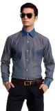 Cotton Crus Men's Solid Formal Grey Shir...