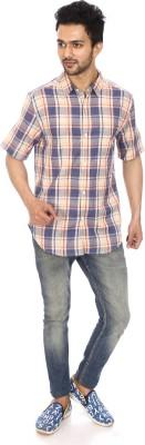 Kalaa Men's Checkered Casual Blue, White Shirt
