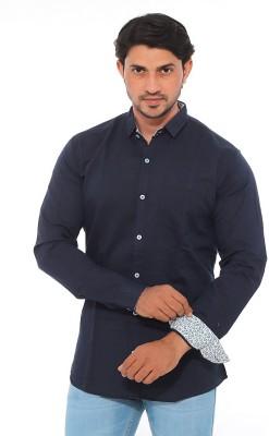 Mabho Men's Solid Casual Dark Blue Shirt