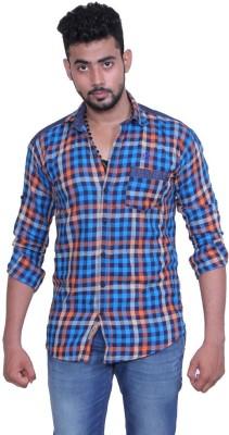 Austrich Men's Checkered Casual Blue Shirt