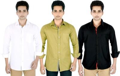 Yuva Men's Solid Casual Linen White, Beige, Black Shirt