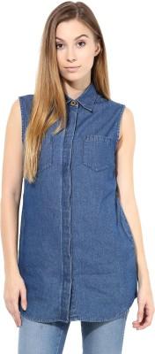 TheGudLook Women's Solid Casual Denim Blue Shirt