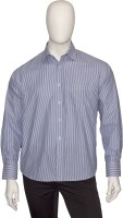 Cotton Natural Formal Shirts (Men's) - Cotton Natural Men's Striped Formal Blue Shirt