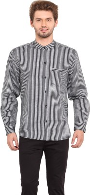 Ekmatra Men's Striped Casual Black, White Shirt
