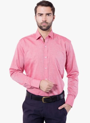 Be Style Men's Solid Formal Pink Shirt