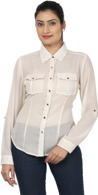 Aalliya's Creation Women's Solid Casual, Party White Shirt