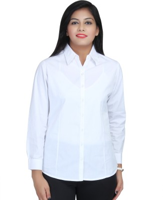 Estella Fashion Women's Solid Formal White Shirt
