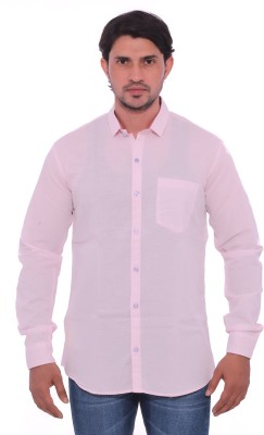 Mabho Men's Solid Casual Pink Shirt