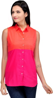 Motif Women's Solid Casual Red, Pink Shirt