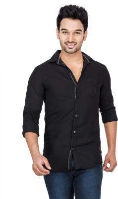 Loopy Men's Solid Casual Black Shirt