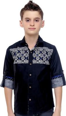 Mash Up Boy's Printed Casual Black Shirt