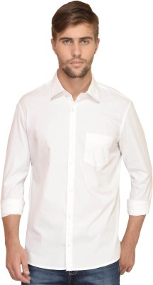 BlackRooster Men's Solid Casual White Shirt