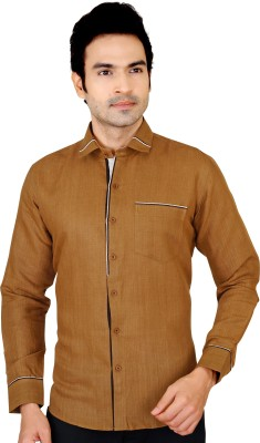 X-Secret Men's Self Design Party Linen Brown Shirt