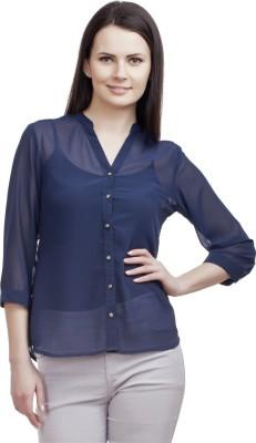 ORIANNE Women's Solid Casual Blue Shirt