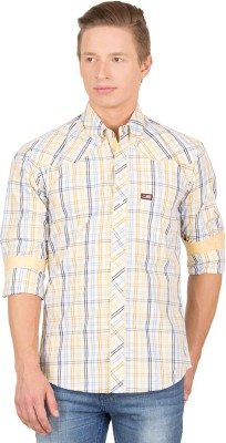 Union Street Men's Checkered Casual White, Yellow, Blue Shirt