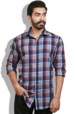 Goswhit Men's Checkered Casual Red, Blue Shirt