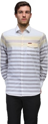 Canary London Men's Striped Casual Brown Shirt