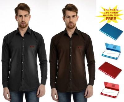 AVSPOLO Men's Solid Casual Black, Brown Shirt