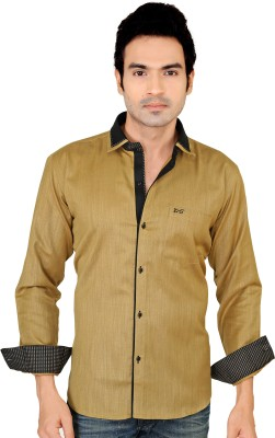 X-Secret Men's Self Design Party Brown Shirt