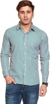 Stylistry Men's Checkered Casual White, Green Shirt