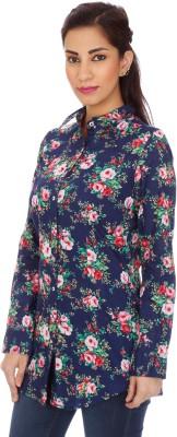 Clodentity Women,s Floral Print Formal Blue Shirt