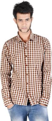 Corpus Men's Checkered Casual Brown Shirt