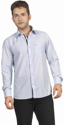 P4 Men's Solid Casual Light Blue Shirt