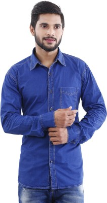 Crocks Club Men's Solid Casual Denim Blue Shirt