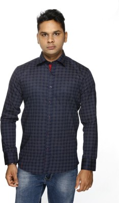ALBI NYC Men's Printed Casual, Formal Dark Blue Shirt