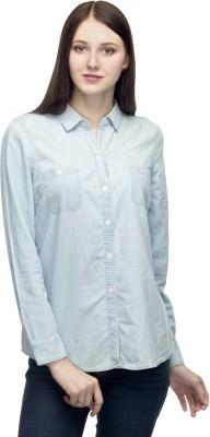 One Femme Women's Solid Casual, Lounge Wear Blue Shirt