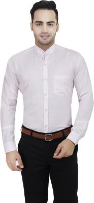 LEAF Men's Solid Formal Pink, White Shirt