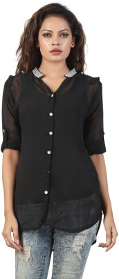 Famglam Women's Solid Casual Black Shirt