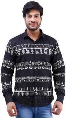Lamode Men's Printed Casual Black Shirt