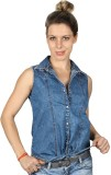 Iralzo Women's Solid Casual Denim Blue S...