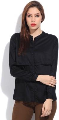 Arrow Women's Solid Formal Black Shirt