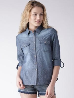 Mast & Harbour Women's Self Design Casual Blue Shirt