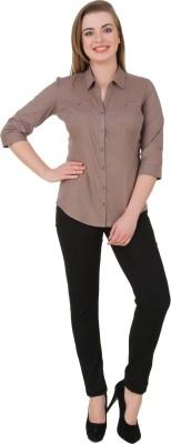 Petipack Women's Solid Casual Brown Shirt