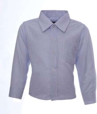 Sheena Boy's Checkered Party Blue Shirt